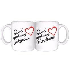 "Šolje u paru sa romantičnim natpisom ""Good Morning Handsome / Gorgeous"""