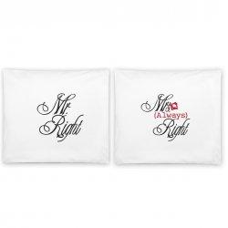 "Jastuci u paru sa romantičnim motivom ""Mr/Mrs Right"""